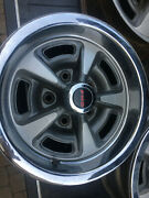 Pontiac Rally Ii Wheels Oem 14x6 W/ Trim Rings And Pmd Center Caps Set Of 5