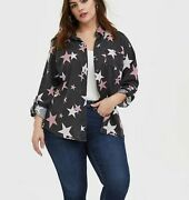 Torrid 4 4x Taylor Black Burnout Star Button Front Relaxed Fit Shirt Size Nwt