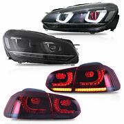 For Volkswagen Golf 6 Mk6 2010-2014 Headlights And Taillights Red Demon Eyes