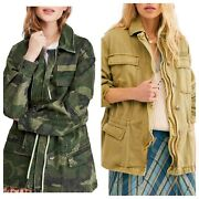 168 Free People Free People Seize The Day Military Jacket Camouflage Army S M