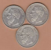 Three 1869/1870 And 1874 Belgium Silver 5 Franc Crowns In Very Fine Or Better.