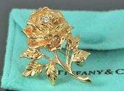 Estate Vintage Collectible And Co 14k Yellow Gold Diamond Rose Pin Brooch