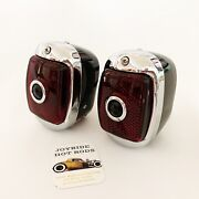 1937-38 Chevy Tail Lights Black With Chrome Bezels And Blue Dots- L/h And R/h