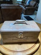 """Vintage 14"""" Jc Higgins Metal Tackle Box With Fold Out Tray. Mid 1900's. Crusty"""