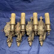 Four 4 Antique Heavy Brass Sconces Newly Wired Great Patina Wall Fixtures 99e