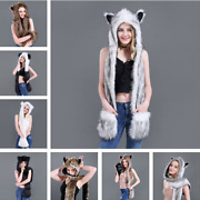 1pcs Faux Fur Animal Ears Hat Gloves Mittens Long Scarf Snood Hood Paws