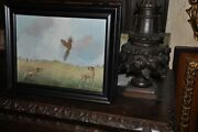 Beautiful Pheasant With Hunting Dogs Painting By Listed Artist