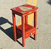 Christmas Accent Table Handpainted Drawer Red Foyer Front Porch Plant Holder