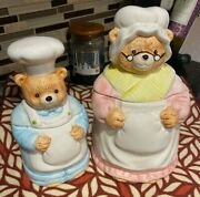 Vtg Mama Bear And Baby Bear Cookie Jars With Apron And Hat 2 Jars