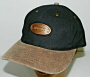 Finning Caterpillar Cat Diesel Tractor Hat Black Cotton Leather Strap-back