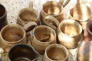 Handmade Hand-thrown Pottery Earthenware Coffee Cup Mugs 2 Sets And Vases