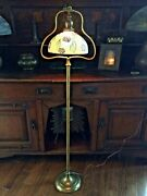 Handel Molten Art Glass Shade Arts And Crafts Deco Floor Lamp Bradley Hubbard Era