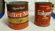 Vintage Lot Of 2 Coffee Cans 32 Oz Folgers And 48 Oz Butternut