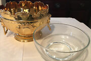 Corbell And Co. Gold Tone Chilling Monteith Bowl W/ Lionand039s Head Handles
