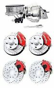 Wilwood Red Drilled Slotted Disc Brake Kit 2 Drop W/ Chrome Booster Master Cyl.