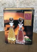 Bohemian Cut Clear Crystal Cruet Set Oil And Vinegar Dispensers W/stoppers New 6.5