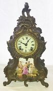 French Mantle Clock. Ansonia Clock Co. Limoges Porcelain Plaque. 14 1/2 Height