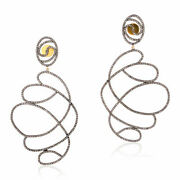 Pave Diamond 925 Sterling Silver Dangle Earrings Christmas Gift Her Jewelry Jp