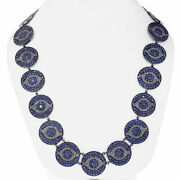 Pave Diamond Sapphire Evil Eye Necklace 925 Sterling Silver Gift Jewelry Jp