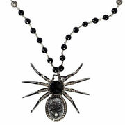 Onyx 2.3ct Pave Diamond Sterling Silver Antique Spider Pendant Necklace Jp