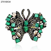 925 Silver Natural Diamond Emerald Cocktail Ring Vintage Look Fine Jewelry Jp