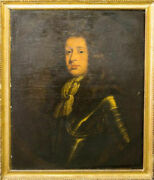 Fine 17th, 18th Century Portrait Painting Of A Nobleman In Armour Oil On Canvas
