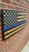 24 X 13 Hand-engraved Wooden 50 Star Thin Blue Line Torched American Flag