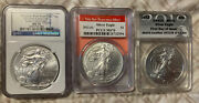 Set Of 3- 2012 Psand W / Silver Eagles -all Certified Ms 70- All Three Mints