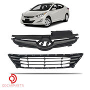 Fits Hyundai Elantra 2014-2016 Front Upper Grille And Lower Grille Chrome Set