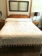 Queen Antique Bedspread In White With Pom-pom Fringe