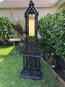 Vintage Cast Iron Tree Hall With Mirror And 5 Hooks 71 Tall Made In Japan