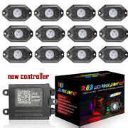 12 Pods Rgb Cree Led Rock Lights Lamp Off-road Music Wireless Bluetooth Control