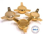 3 Bar Cut Straight Gold Knock-off Spinner Caps For Lowrider Wire Wheels