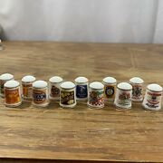 Franklin Mint Thimble Advertising Fp Fine Porcelain 1980 Lot Of 12 Food Cooking