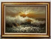 Alfred Manessier Original Rare Early Oil Painting Sea Framed 44 X 32 36 X 24
