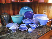 Complete Set Of Vintage Fiesta Turquoise Mixing Bowls With Inside Bottom Ring