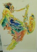 Orig. Michael Smiroldo Impressionist Watercolor Painting New Orleans Jazz Player
