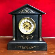 1865 Antique French Black Marble Mantel Clock 7 Day