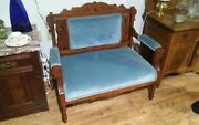 Antique Victorian Loveseat Settee Sofa Wood And Cushions Blue