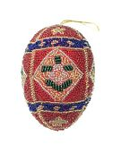 Glass Bead Sequin Faberge Egg Inspired Christmas Ornament Boutique Decoration