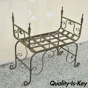 Vintage Gothic Wrought Iron Curule Scrollwork Distressed Green Bench W Finials
