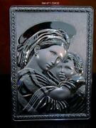 Orthodox Madonna With Child Sterling Silver Religious Plaque
