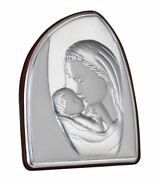 Madonna And Child Sterling Silver Argento Religious Plaque
