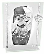 Madonna With Child Religious Plaque With Crystal Flower