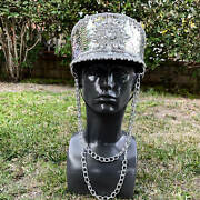 Steampunk Carnival Halloween Captain Express Train Costume Cap Party Hat Silver