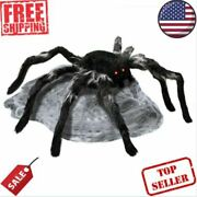 22 In. Animated Jumping Spider With Red Led Eyes Halloween Decor Scary