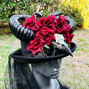 Black Steampunk Gothic Red Rose And Horn Top Hat With Eagle Vintage Hat Halloween