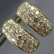 Estate Wide 1.37ct Diamond 18k Yellow Gold 3d 3 Row Pave Huggie Hanging Earrings