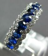 Estate Wide 1.61ct Diamond And Aaa Sapphire 18k White Gold Semi Eternity Love Ring