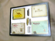 Vintage Lot Of 4 Wwii Trench Lighters And 4 Cigarette Tins - With Case